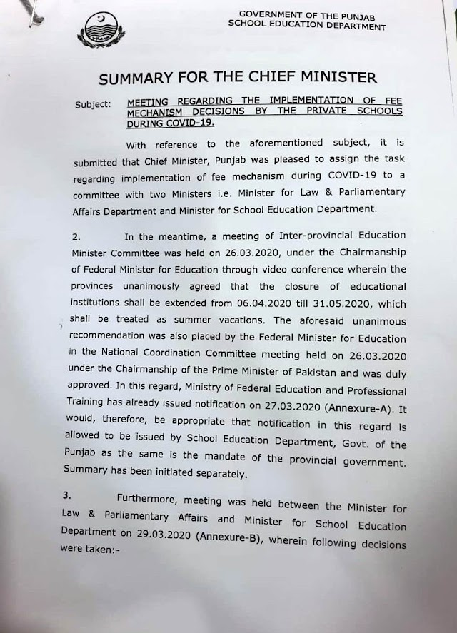 IMPLEMENTATION OF FEE MECHANISM DECISION BY THE PRIVATE SCHOOLS AND SUMMER VACATIONS DURING COVID-19