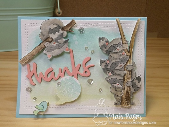 Raccon Cards by Naki Rager | Raccoon Rascals Stamp set by Newton's Nook Designs #newtonsnook