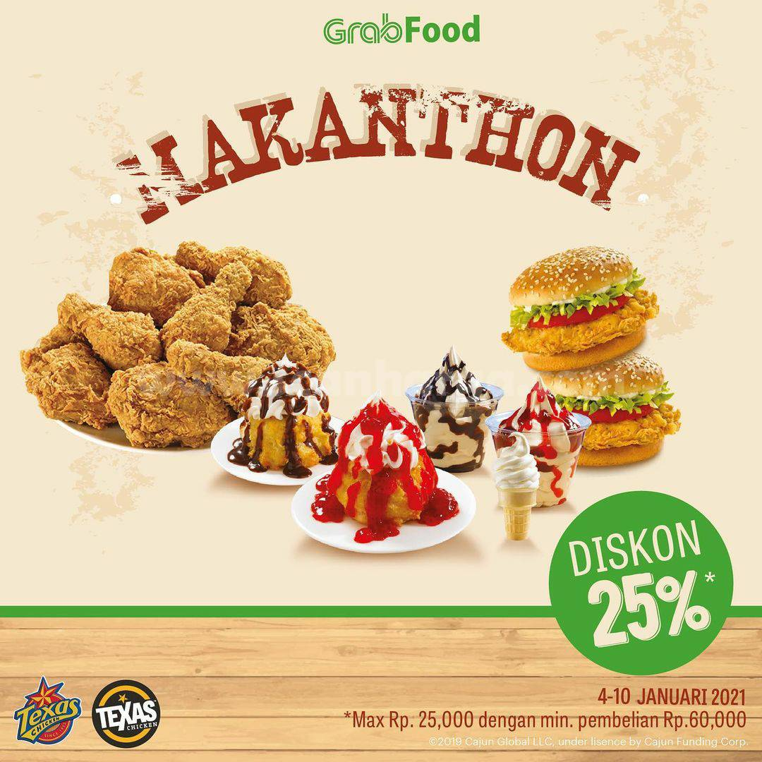 Texas Chicken Promo MAKANTHON Diskon 25% via Grabfood