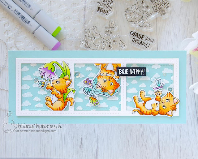 Bee Happy Cat card by Tatiana Trafimovich | Captivated Kittens Stamp Set, Petite Clouds Stencil, Land Slimline Die Frames & Windows Set by Newton's Nook Designs #newtonsnook