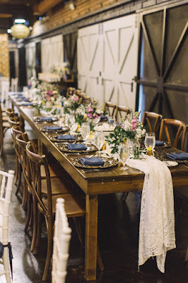 rustic navy wedding reception table display