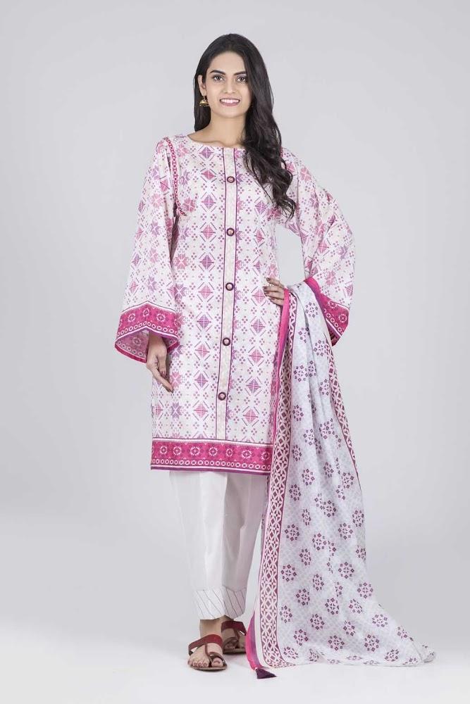Bonanza Satrangi White & Pink Lawn suit