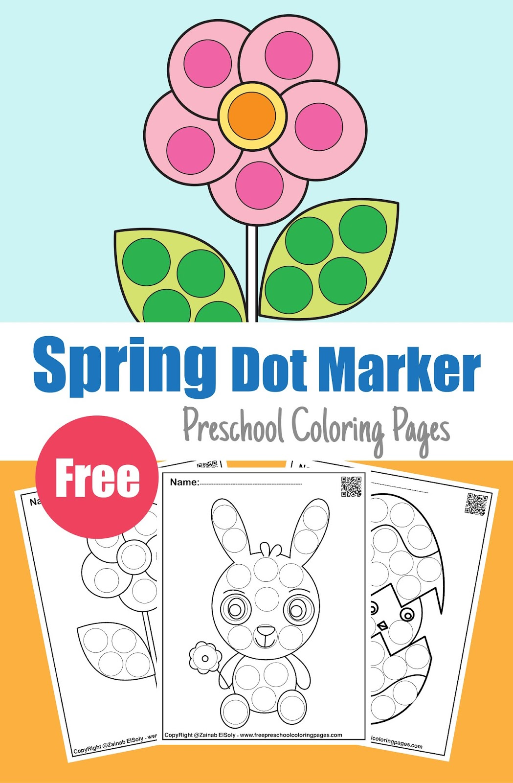 Spring Dot Marker Free Coloring Pages