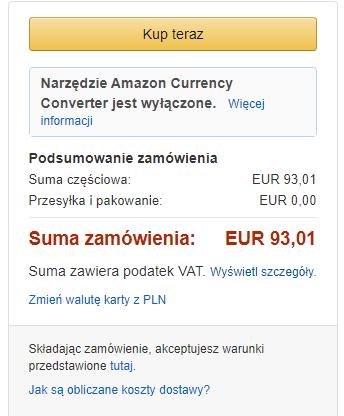 Podsumowanie zamówienia Kindle 10 i kwota do zapłaty