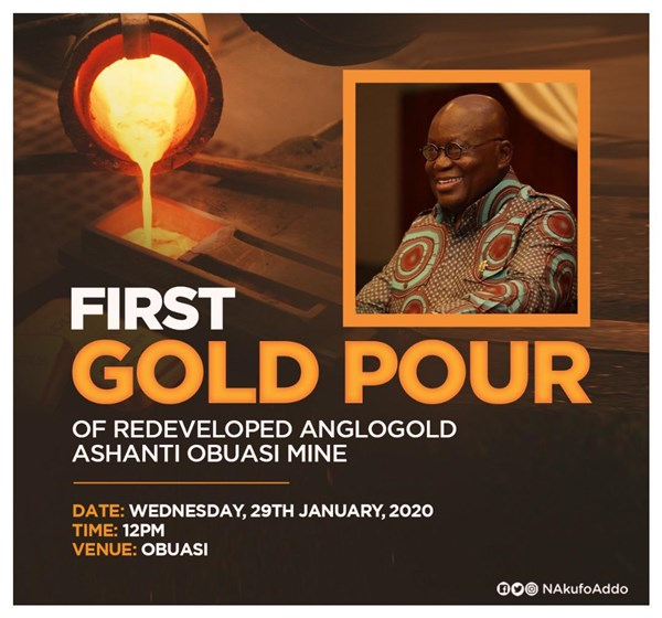 """Obuasi Mine Returned To Productivity, Profitability After First Gold Pour Since 2014"" – President Akufo-Addo"
