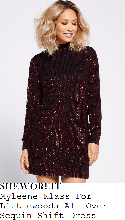 myleene-klass-myleene-klass-for-littlewoods-dark-ruby-red-sequin-embellished-long-sleeve-high-neck-fitted-shift-mini-dress