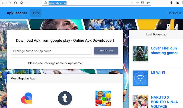 5 website downloader file APK Android playstore via komputer pc
