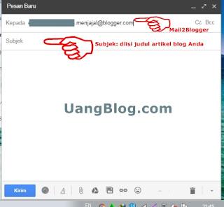"""Isi bidang tujuan pengiriman dengan """"Mail2Blogger"""""""