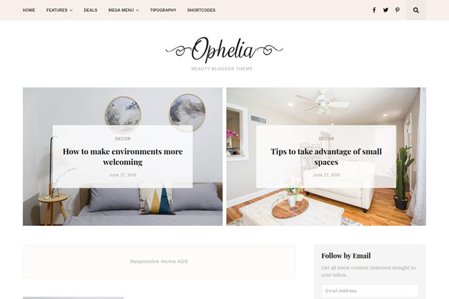 Ophelia Blogger Template Premium Free Download