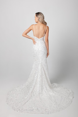 Michelle Roth STrap Beaded Fit and Flare Bridal Dress back design