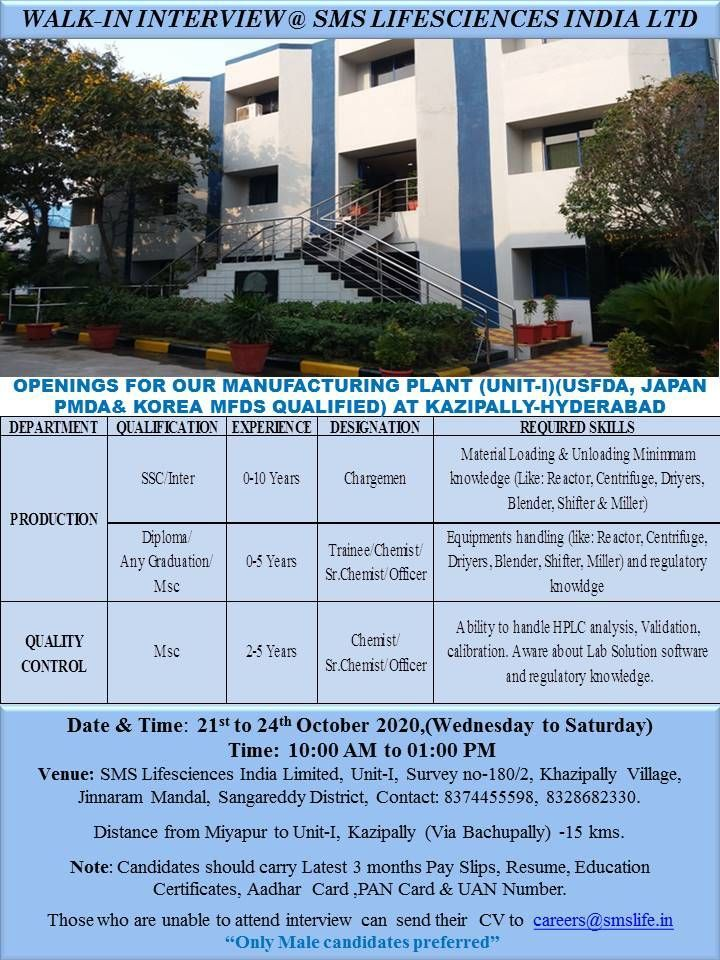 10th, 12th, Diploma and Any Graduation Job Requirement Walk in Interview For SMS Lifesciences India Ltd Pharmaceutical Company