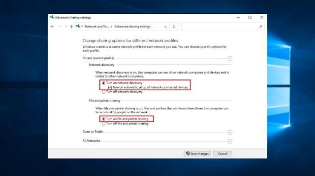 Hidupkan Network Discovery dan File and Printer Sharing