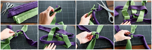 Step-by-step instructions for a stick end fleece dog tug toy weaving from a concealed end knot