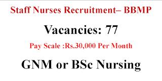 30000 Salary 77 Nursing Vacancies BBMP
