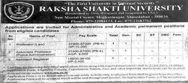 Raksha Shakti University Various Recruitment 2016