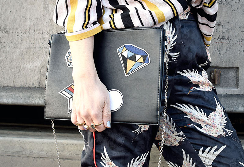 Bunte Patches auf Clutch, Mustermix extrem