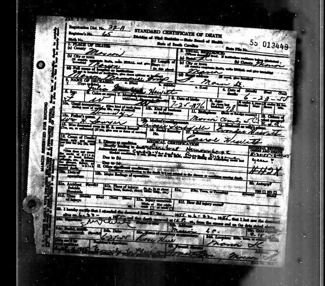 Julia Hewitt's Death Certificate