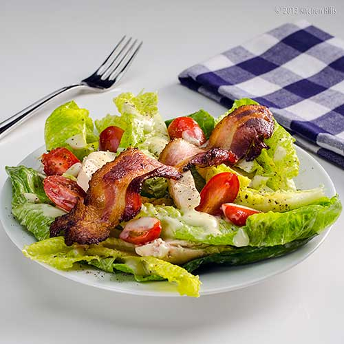 Chicken, Lettuce, and Mayonnaise Salad with Bacon Garnish