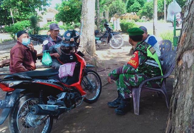 Berikan Himbauan Kepada Warga Patuhi Protokol Kesehatan Dilakukan Personel Jajaran kodim 0207/Simalungun