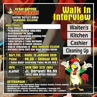 Lowongan Kerja Ayam Geprek Pangeran Bandung Walk In Interview
