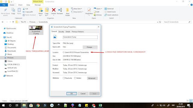 contoh hasil screenshot dengan tombol windows + print screen