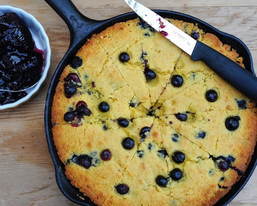Summer Corn Bread with Fresh Blueberries, a real seasonal treat, a skillet of warm corn bread studded with fresh blueberries.