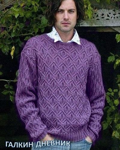 Пуловер с узором - кедр.