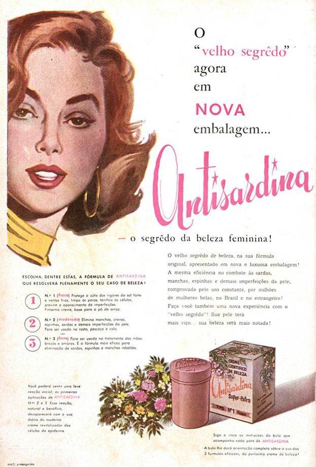 Propaganda antiga do creme Antisardina veiculada em 1957
