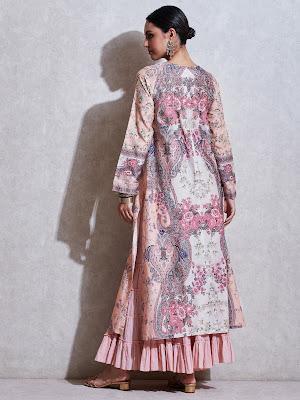 Ritu Kumar Pink Floral print chanderi suit Back Side