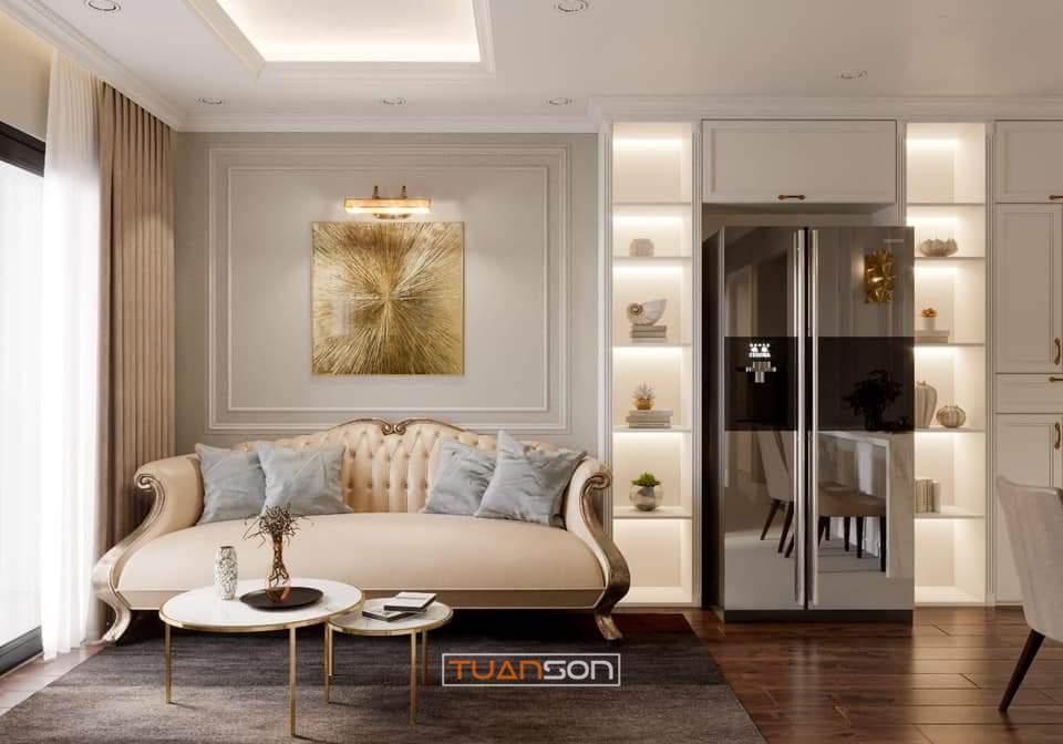 Thiết kế thi công nội thất phòng khách căn hộ Vinhomes Vinhomes Smart City Tây Mỗ