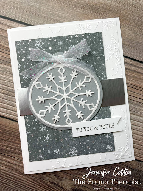 Stampin' Up! Bright Baubles Bundle card.  I also used these papers: Peaceful Place DSP,  Snowy White Velvet, and Silver Foil Specialty.  Also: Wintry embossing folder and White Glittered Organdy Ribbon.  #StampinUp #StampTherapist #BrightBaubles