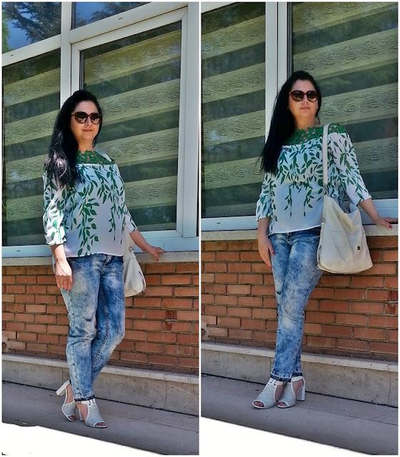 Yeşil yaprak detaylı bluz