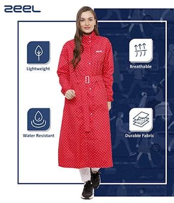 ZEEL AZ11 Ladies Polka Dots Long Raincoat Stylish Ladies Lightweight Raincoat for Complete Protection from Rain