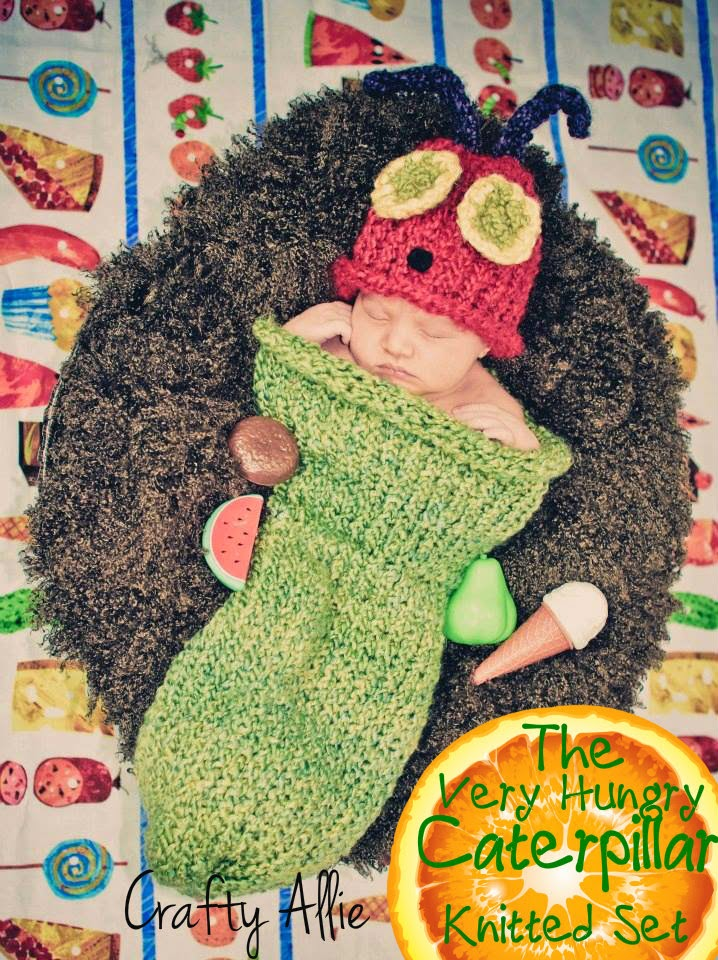 Craftie Allie very hungry caterpillar knit newborn set