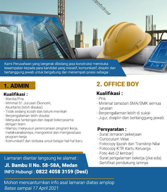 Lowongan Kerja Medan Maret 2021 Lulusan Sma Smk S1 Di Perusahaan Konstruksi