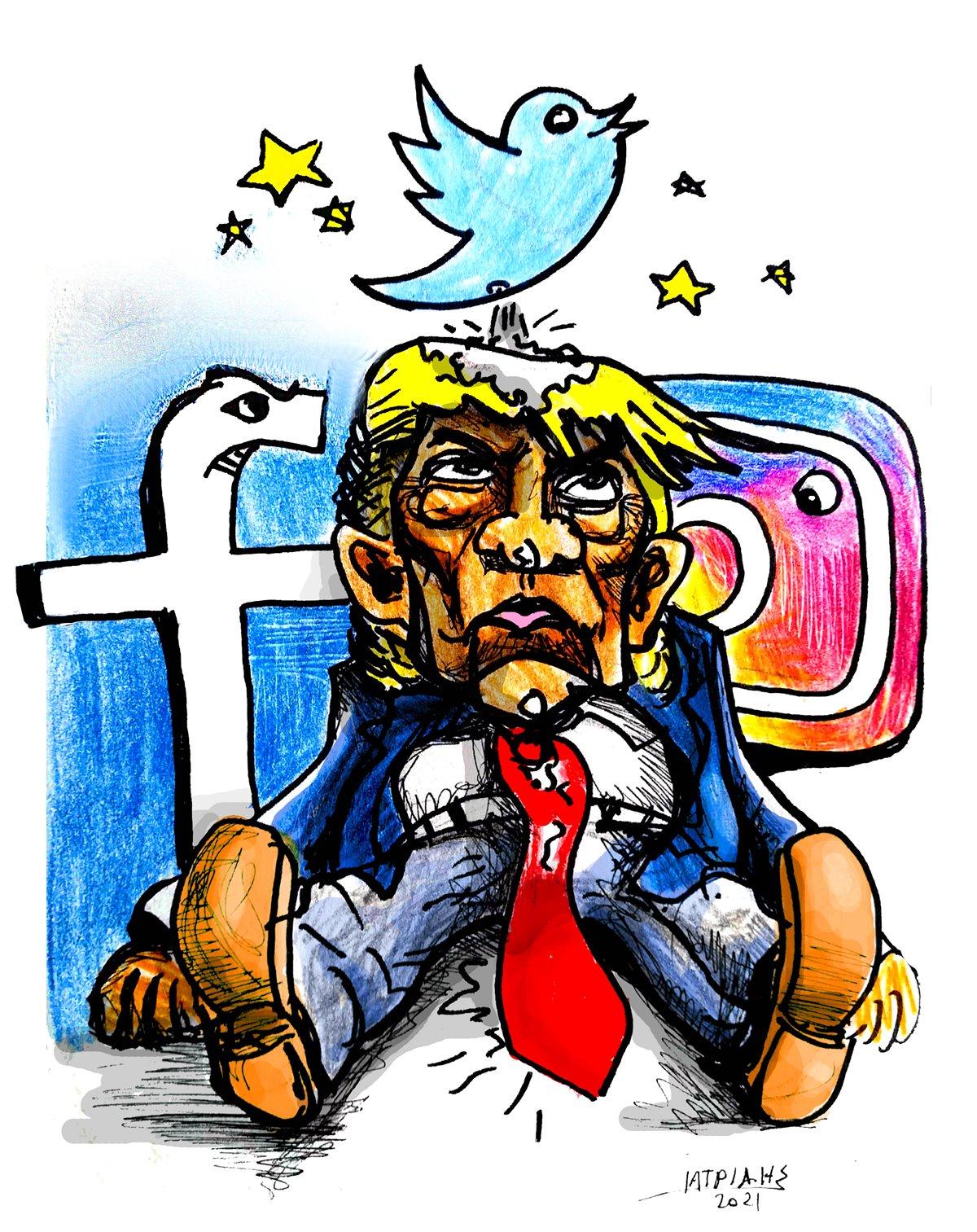 ta mesa koinwnikis diktiwsis mplokaran ton proedro ntonalnt tramp ameriki usa trump social media intagram facebook twitter myxalandri iatridis geloiografia