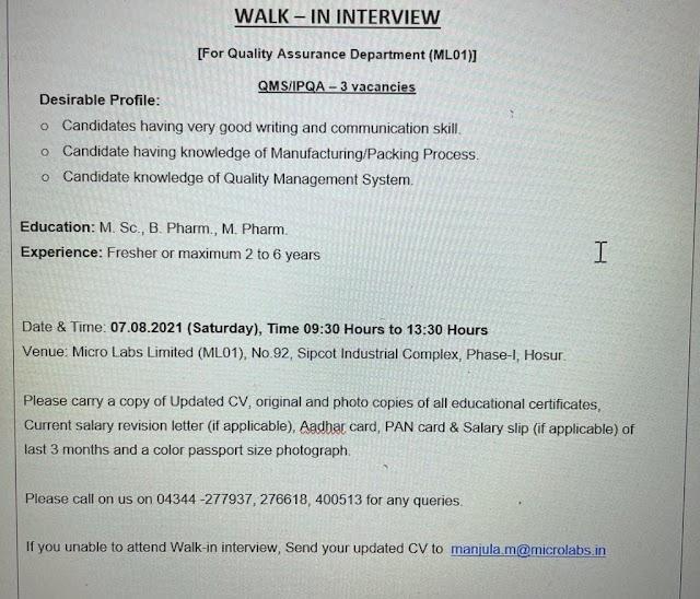 Micro Labs Ltd. Walk In Interview- QA Dept. On 7th Aug 2021 @Hosur