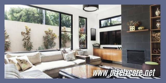 Desain Kaca Dinding Minimalis Modern Pada Ruang Tamu