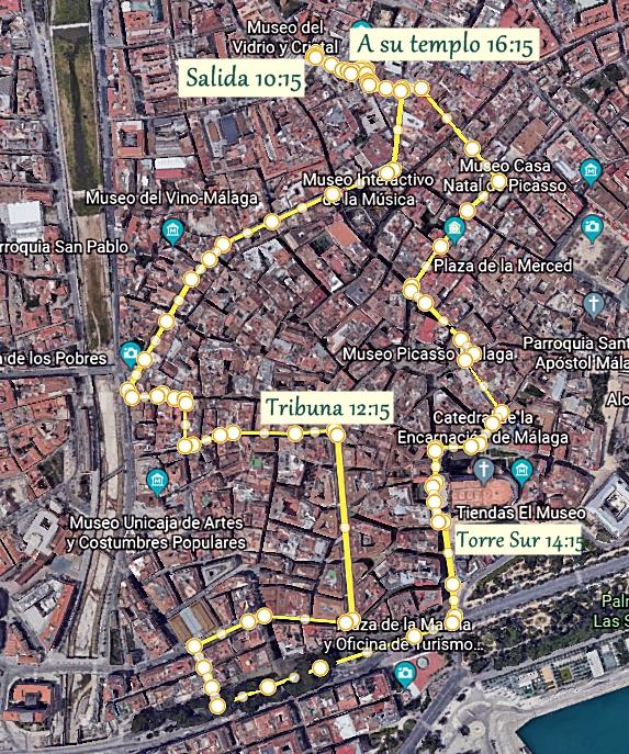La Pollinica de Málaga hace publico su Horario e itinerario del Domingo de Ramos 2020
