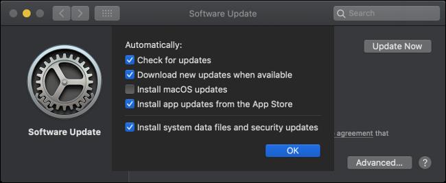 لوحة تحديثات برامج MacOS.