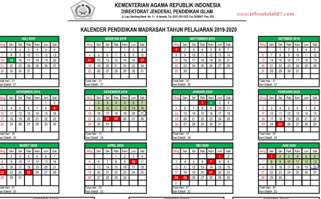Kaldik Kemenag 2019 (Kalender Pendidikan RA/Madrasah Tahun 2019/2020)