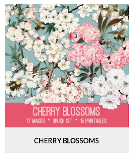 "CoffeeShop ""Cherry Blossom"" Digital Paper Pack and Photoshop Pattern!"