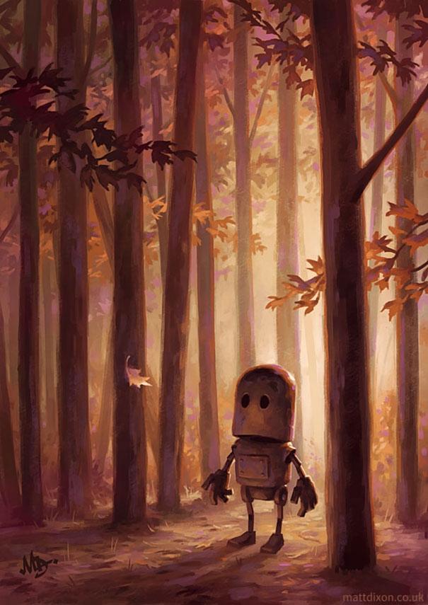11-Matt-Dixon-Illustrations-of-Lonely-Robots-Experiencing-The-World-www-designstack-co