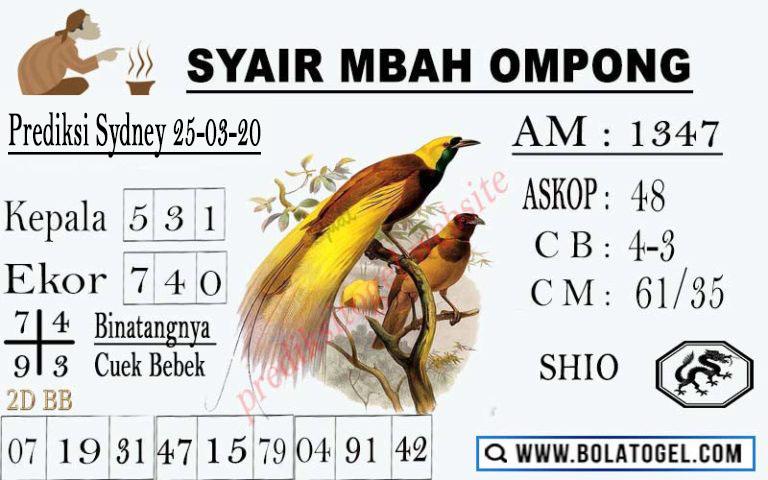 Prediksi Togel Sidney Rabu 25 Maret 2020 - Syair Mbah Ompong