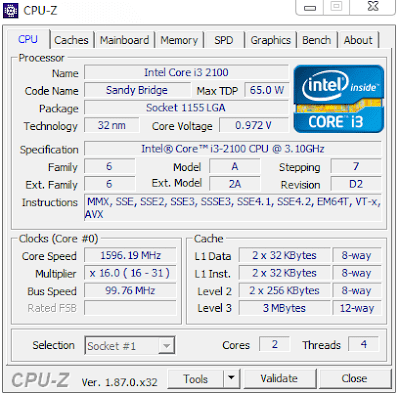 Find CPU information on CPU-Z