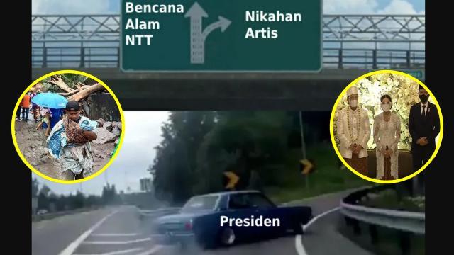 Bencana di NTT, Beredar Meme Sindir Presiden Jokowi Belok ke Nikahan Artis