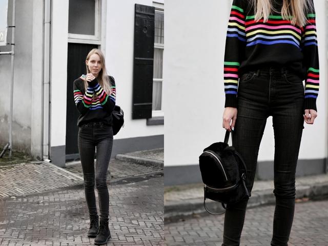 Make people stare zaful outfit trui regenboog strepen fluffy rugzak mini backpack stradivarius nederlandse fashion blogger
