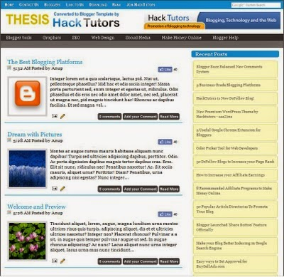 Free Download Thesis Template for Blogger | Blogspot Skill