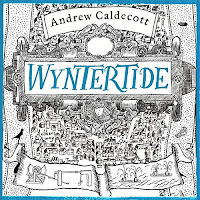 Wyntertide audiboook cover. An inricate map illustrated by Sasha Laika in black and blue.