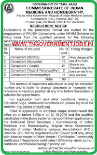 Applications are invited for 99 Consultants Post in Commissionerate of Indian Medicine and Homoeopathy Chennai